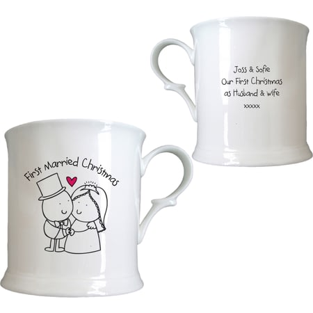 Personalised Chilli & Bubble's First Married Christmas Half Pint Tankard
