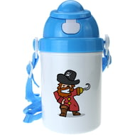 Personalised Pirate Boys Blue Plastic Drinking Bottle With Popup Lid and Straw