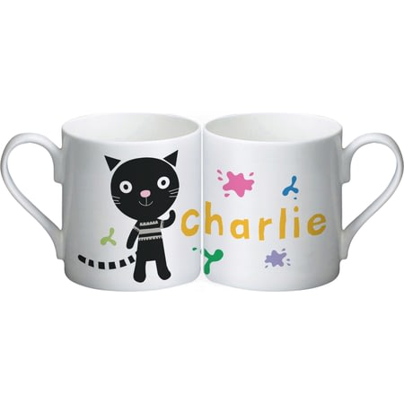 Personalised Arty Mouse Single Character Splash Ceramic Mug
