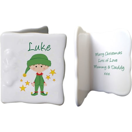Personalised Christmas Elf Ceramic Message Card