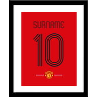 Personalised Manchester United Retro Shirt Framed Print