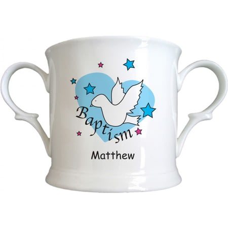 Personalised Dove & Hearts Blue Baptism Bone China Loving Cup
