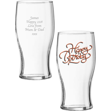 Personalised Happy Birthday Beer Pint Glass
