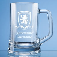 Personalised Middlesbrough FC Crest Stern Glass Pint Tankard