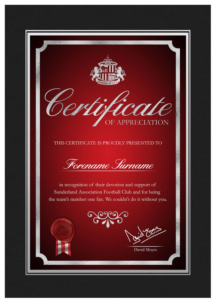 Buy Your Personalised Sunderland Afc No1 Fan Certificate Folder