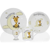 Personalised Sweet Dreams Giraffe Ceramic 4 Piece Breakfast Set