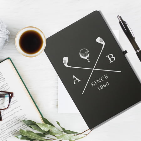 Personalised Golf Clubs Black Notebook & Ballpoint Pen