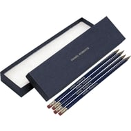 Personalised 12 Blue Pencils With Silver In A Blue Box