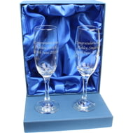 Personalised Engraved Pair of Glass Champagne Flutes