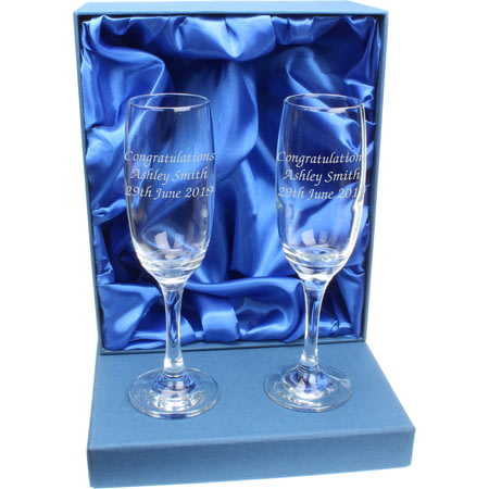 Personalised Pair of Glass Champagne Flutes