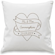 Personalised Mr & Mrs Heart Scroll Cushion Cover