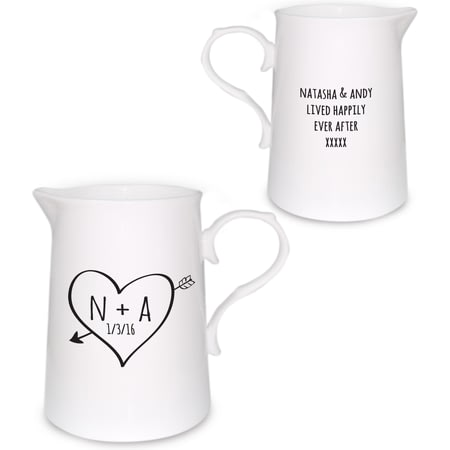 Personalised Sketch Heart Farmhouse Jug
