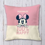 Personalised Disney Minnie Mouse 100% Happy Personalised Cushion - 45x45cm