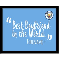 Personalised Manchester City FC Best Boyfriend In The World 10x8 Photo Framed