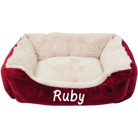Personalised Maroon Cushioned Pet Bed