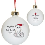 Personalised My 1st Christmas Teddy & Presents Ceramic Tree Bauble