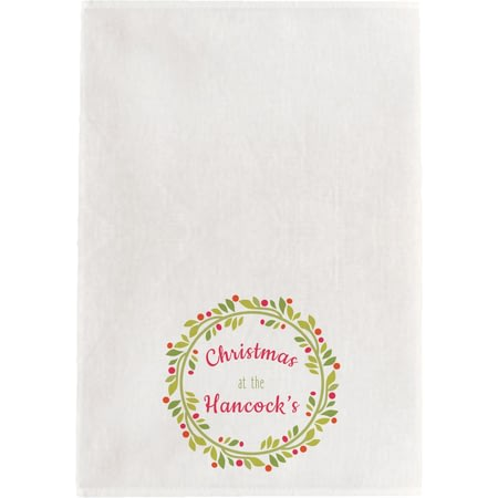 Personalised Contemporary Wreath Tea Towel