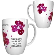 Personalised Pink Pansies Grandma Conic Ceramic Mug