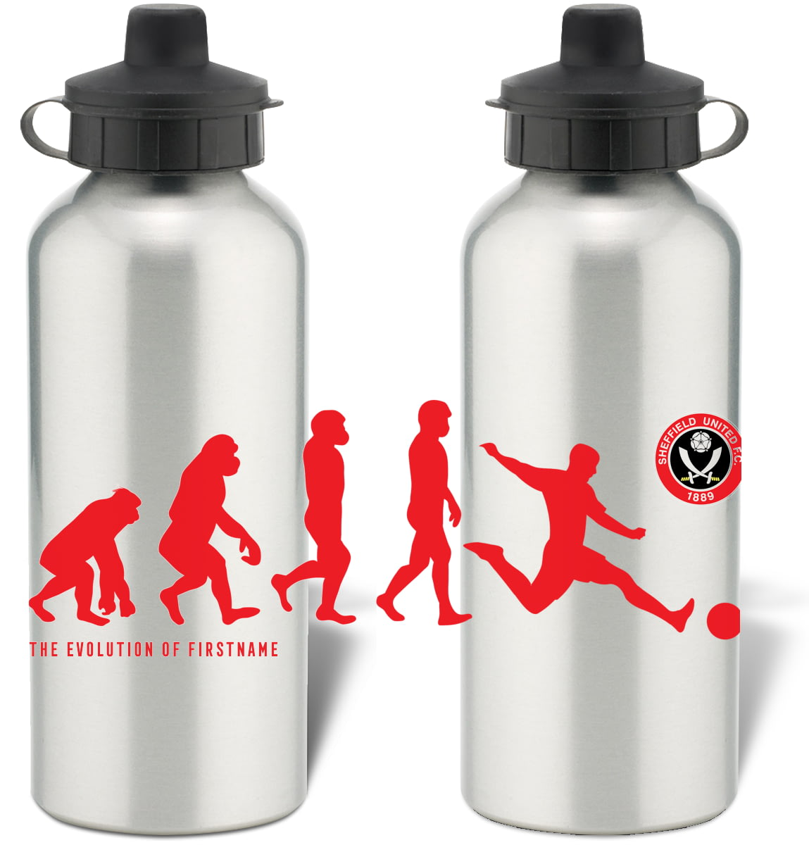White Official Personalised Sheffield United FC Crest Insulated Water Bottle