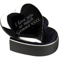 Personalised Silver Plated Heart Trinket Box