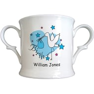Personalised Stork Blue Birth Bone China Loving Cup