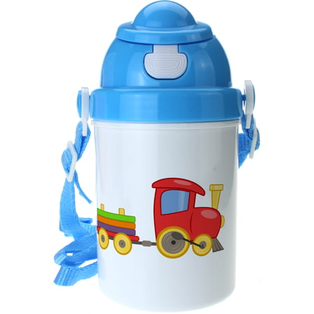 Personalised Train Boys Blue Plastic Drinking Bottle With Popup Lid and Straw