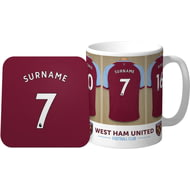 Personalised West Ham United Dressing Room Shirts Mug & Coaster Set