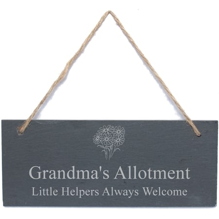 Personalised Flower Motif Hanging Garden Slate Plaque/Sign
