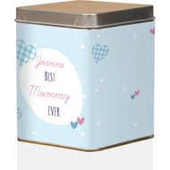 Personalised Best Ever Gingham Tea Tin
