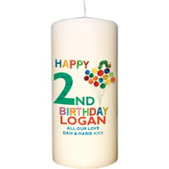 Personalised Very Hungry Caterpillar Birthday Pillar Candle