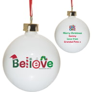 Personalised Very Hungry Caterpillar Believe Ceramic Christmas Tree Bauble
