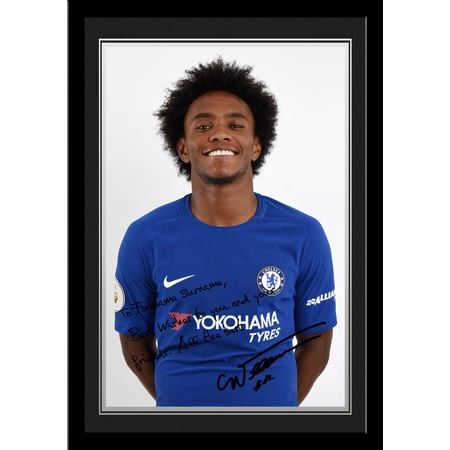 Personalised Chelsea FC Willian Autograph Photo Framed