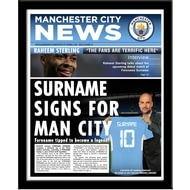 Personalised Manchester City FC Spoof Newspaper Framed Print