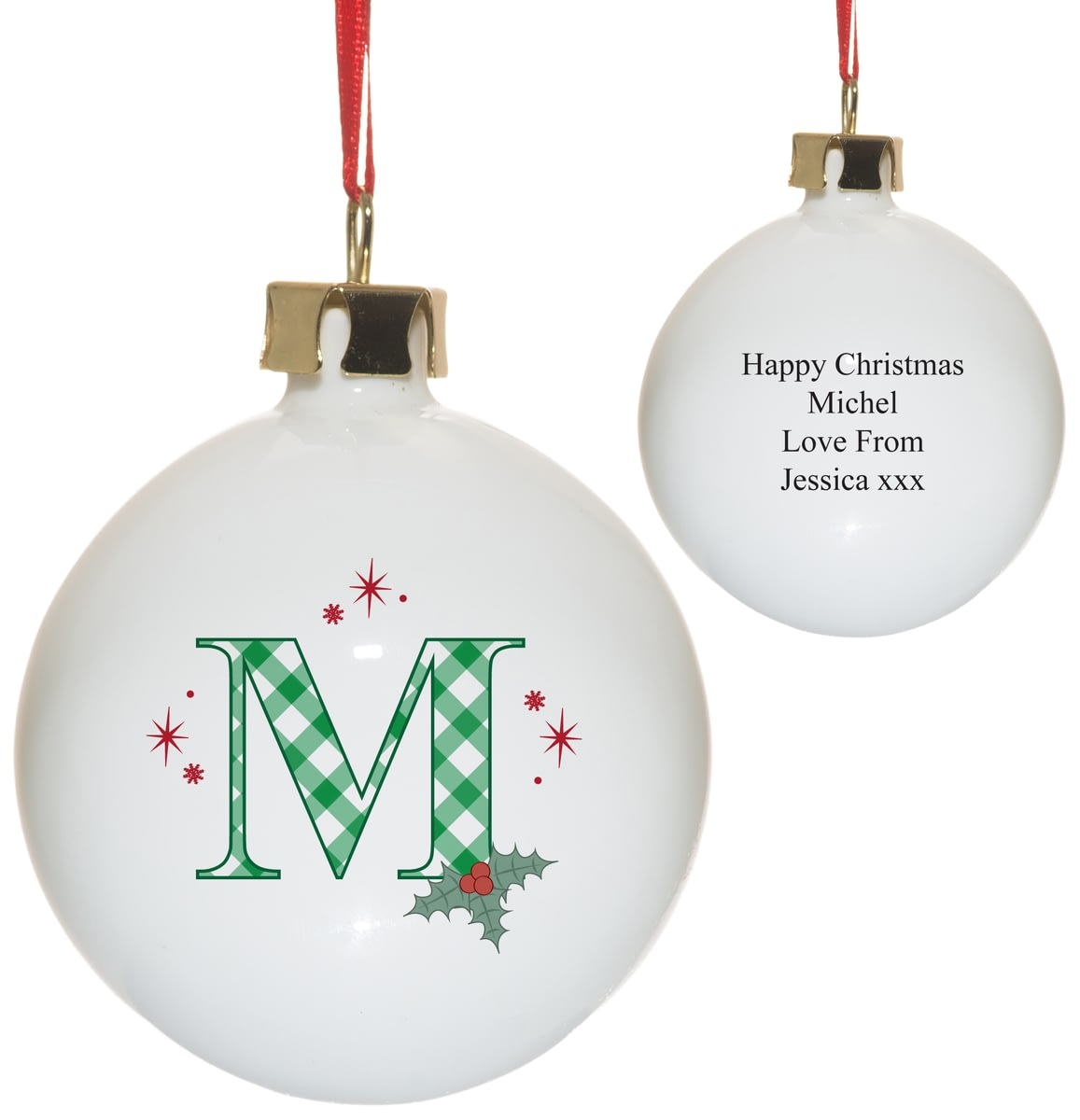 🎁Buy your Personalised Initial Holly Bone China Christmas Tree ...
