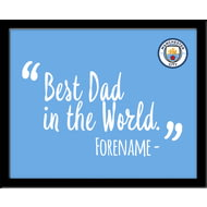 Personalised Manchester City FC Best Dad In The World 10x8 Photo Framed