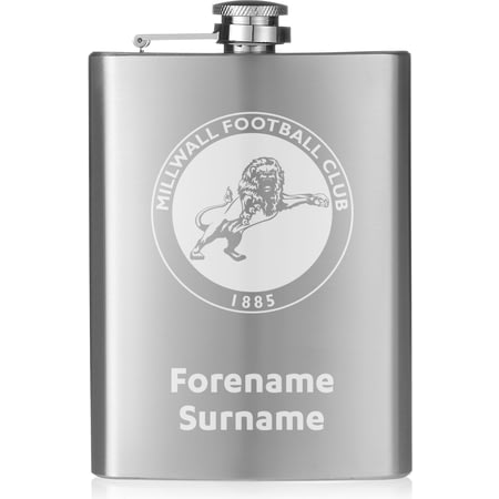 Personalised Millwall FC Crest Hip Flask