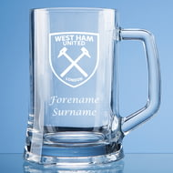 Personalised West Ham United FC Personalised Crest Stern Glass Pint Tankard