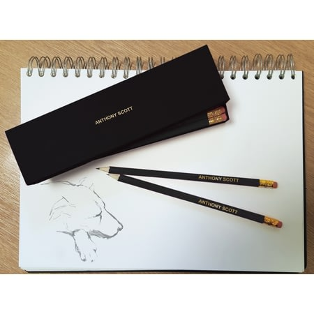Personalised 12 Black Pencils In A Box