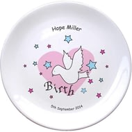 "Personalised Dove & Hearts Pink Birth 8"" Bone China Coupe Plate"