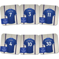 Personalised Everton FC Dressing Room Shirts Coasters Set of 6