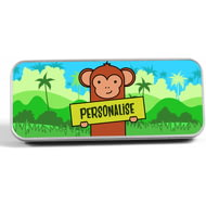 Personalised Kids Monkey Pencil Tin