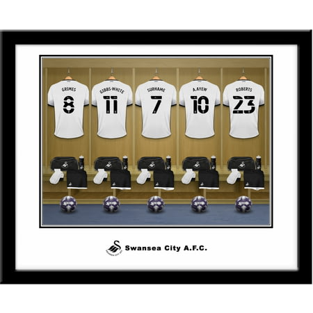 Personalised Swansea City AFC Dressing Room Shirts Framed Print