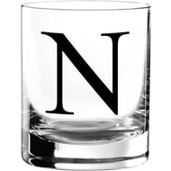 Personalised Black Monogram Glass Tumbler