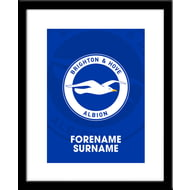 Personalised Brighton & Hove Albion FC Bold Crest Framed Print