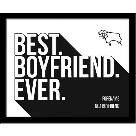 Personalised Derby County Best Boyfriend Ever 10x8 Photo Framed