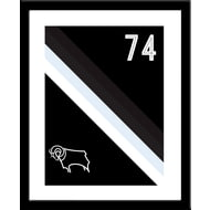 Personalised Derby County Stripe Framed Print