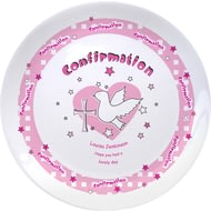 "Personalised Pink Heart Confirmation 8"" Bone China Coupe Plate"