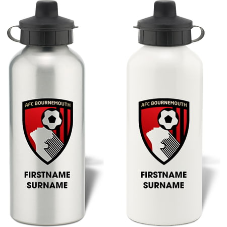 Personalised AFC Bournemouth Bold Crest Aluminium Sports Water Bottle