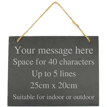 Personalised Engraved Large Hanging Slate Plaque Sign - 25x20cm - 5 Lines