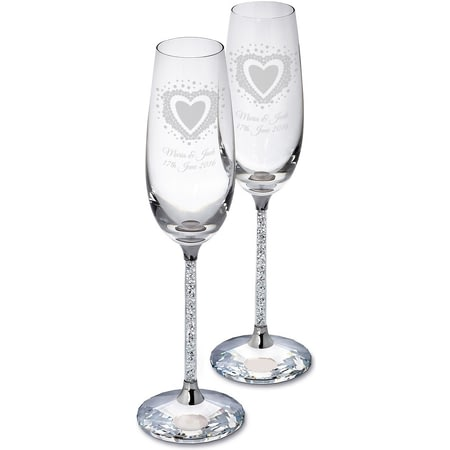 Personalised Vintage Heart Diamante Glass Champagne Flutes